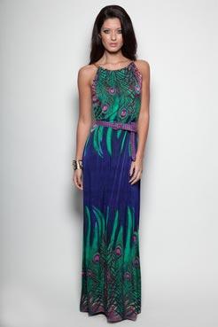 макси рокля в ярки цветове и животински мотив