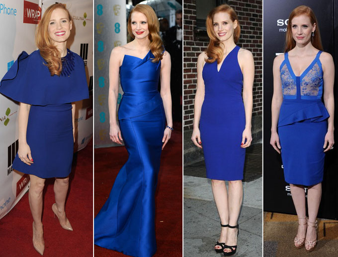 Jessica Chastain blue dresses