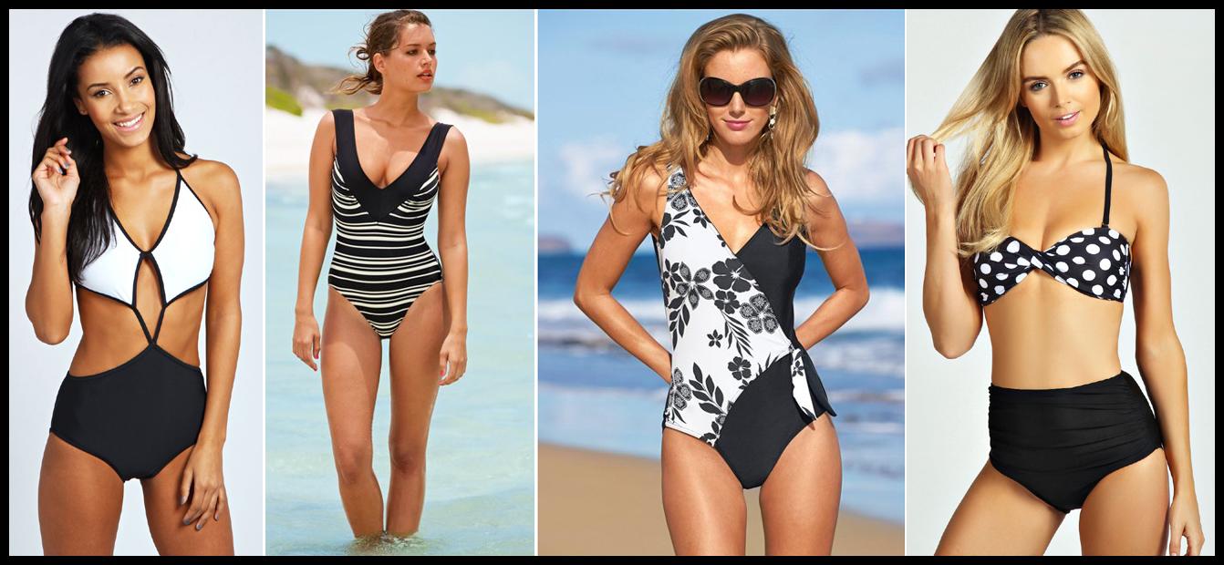 Black and white swimwear