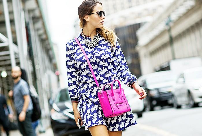 nyfw-ss-2015-street-style-printed-shirt-dress-celine-cross-body-bag