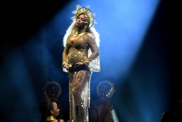 LOS ANGELES, CA - FEBRUARY 12: Recording artist Beyonce performs onstage during The 59th GRAMMY Awards at STAPLES Center on February 12, 2017 in Los Angeles, California. (Photo by Kevork Djansezian/Getty Images)
