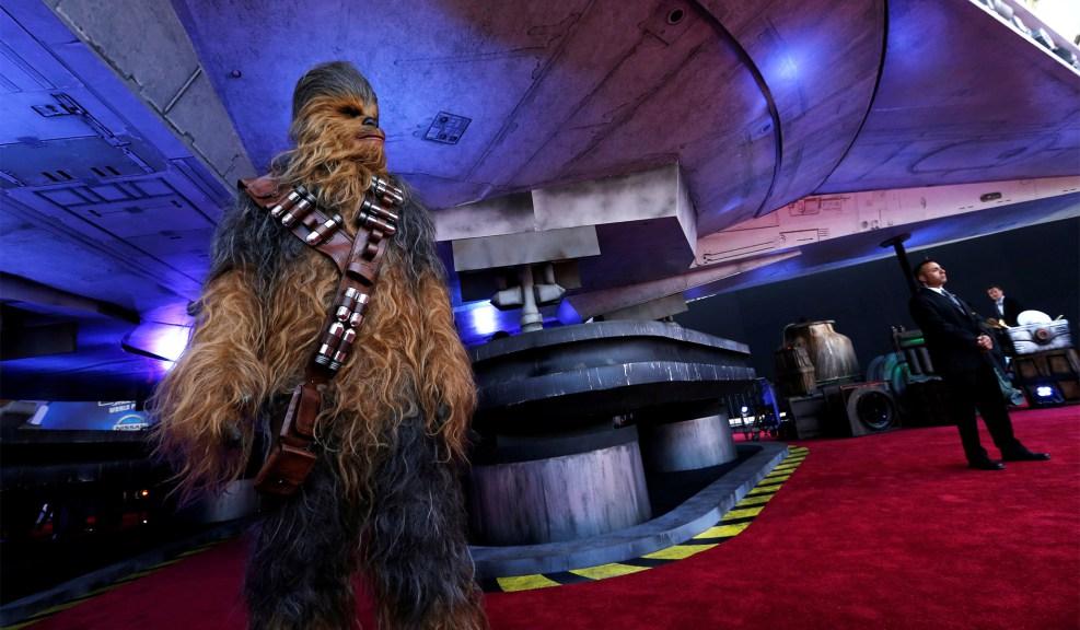 Chewbacca пред Millenium Falcon