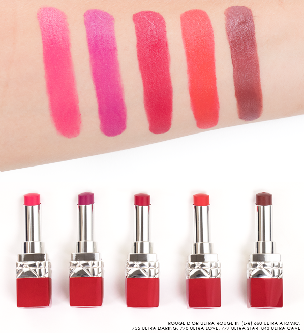 Rouge-Dior-Ultra-Rouge-Lipstic-Swatches-in-660-Ultra-Atomic-755-Ultra-Daring-770-Ultra-Love-777-Ultra-Star-843-Ultra-Cave